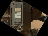 This view of the calibration target for the Mars Hand Lens Imager (MAHLI) aboard NASA's Mars rover Curiosity combines two images taken by that camera during the 34th Martian day, or sol, of Curiosity's work on Mars (Sept. 9, 2012).