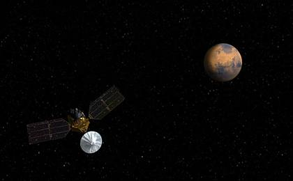 View image for Artist's concept of Mars Reconnaissance Orbiter approaching Mars.