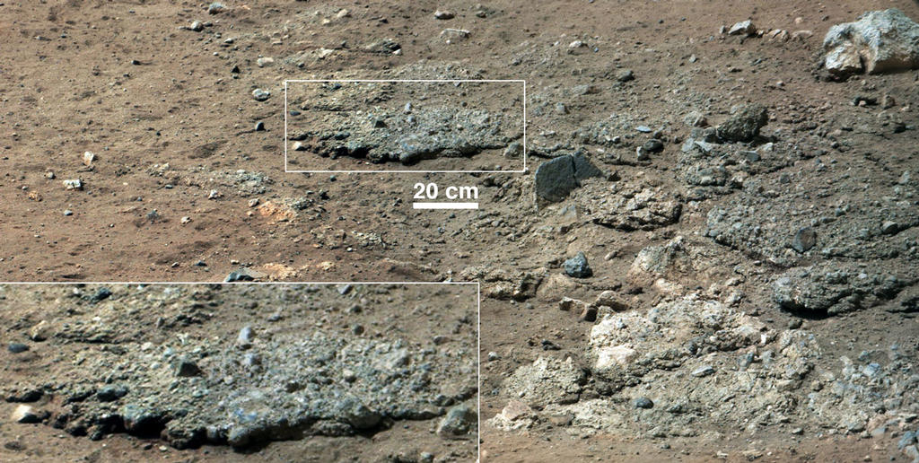 This image from NASA's Curiosity Rover shows a high-resolution view of an area that is known as Goulburn Scour, a set of rocks blasted by the engines of Curiosity's descent stage on Mars.