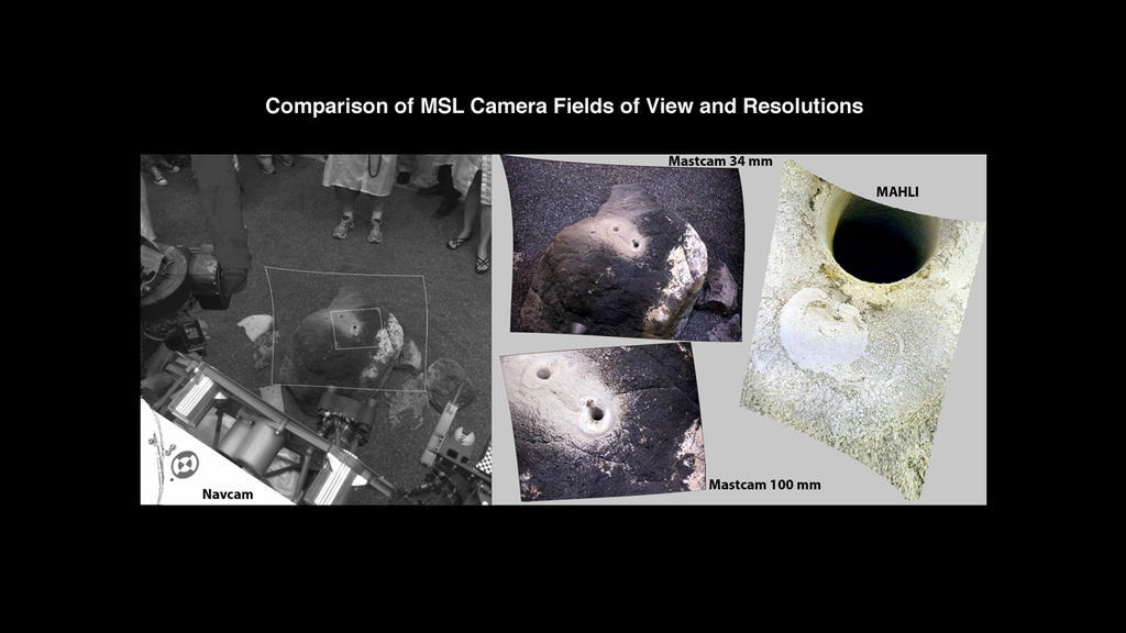 This set of images compares test images taken by four cameras on NASA's Curiosity rover at NASA's Jet Propulsion Laboratory before launch.
