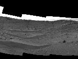 "This April 10, 2015, view from the Navigation Camera on NASA's Curiosity Mars rover shows the terrain ahead of the rover as it makes its way westward through a valley called ""Artist's Drive."""