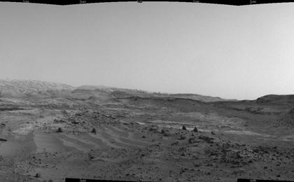 """NASA's Curiosity Mars rover used its Navigation Camera to capture this view on April 11, 2015, during passage through a valley called """"Artist's Drive"""" on the route up Mount Sharp."""