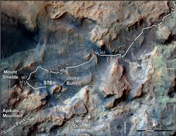Curiosity's Path to Some Spring 2015 Study Sites