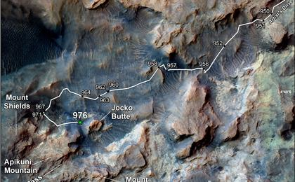 see the image 'Curiosity's Path to Some Spring 2015 Study Sites'