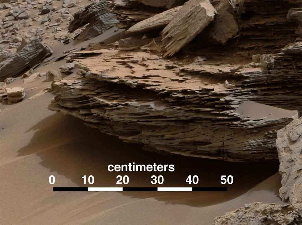 "This view from the Mastcam on NASA's Curiosity Mars rover shows an example of cross-bedding that results from water passing over a loose bed of sediment. It was taken Nov. 2, 2014, at a target called ""Whale Rock"" within the ""Pahrump Hills"" outcrop at the base of Mount Sharp."