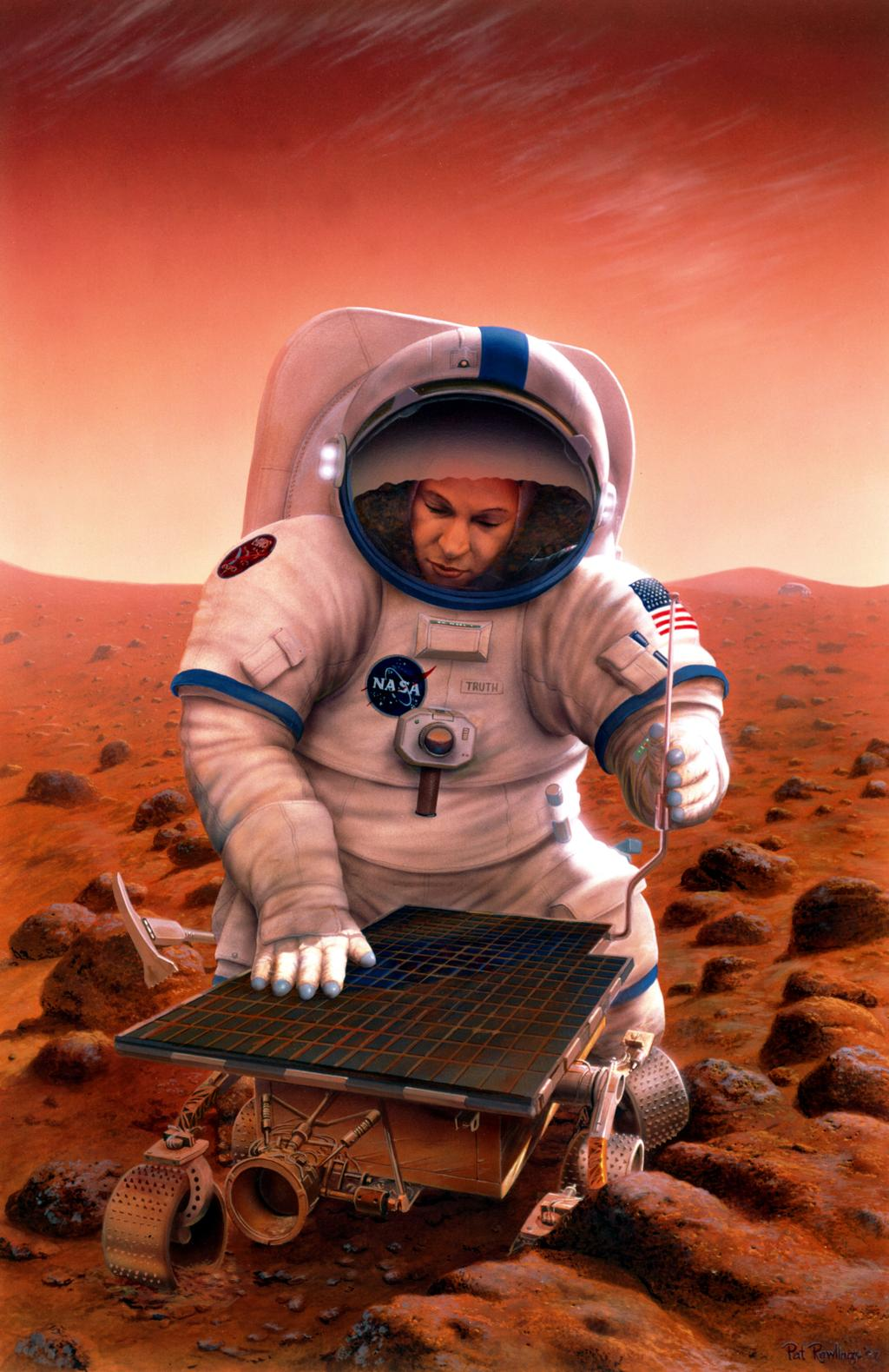 In this artist's concept, an astronaut returns to the landing site of NASA's Mars Pathfinder mission.