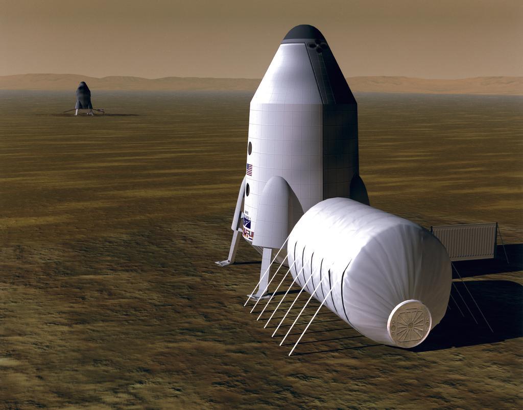 In this artist's concept, a human habitat on Mars is located a short distance from an ascent vehicle that will carry them off the planet later, and a place where fuel is made.