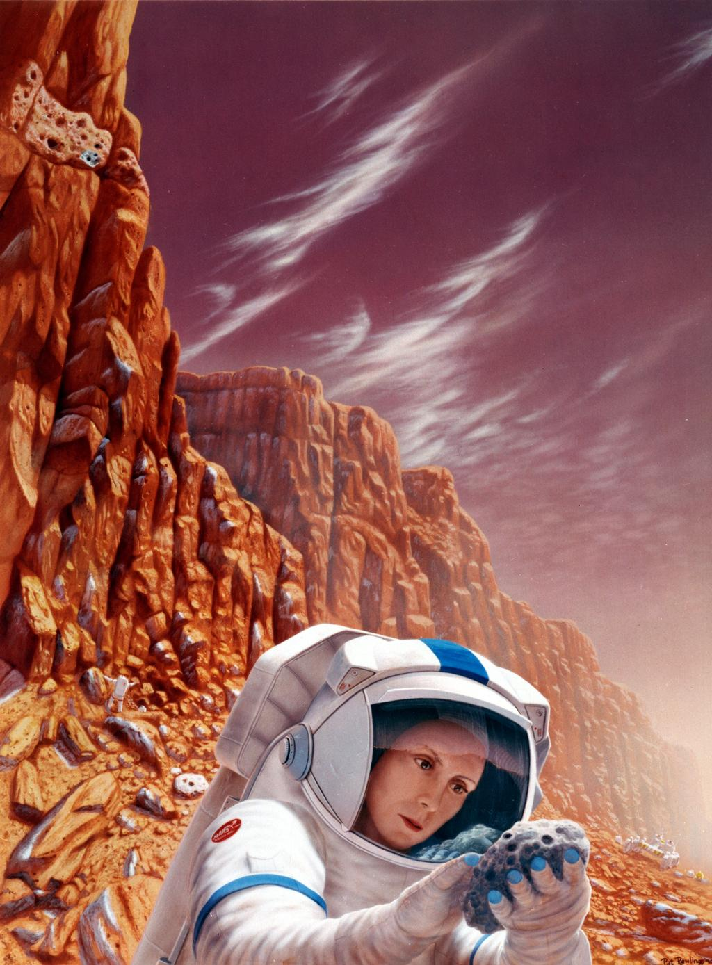 In this artist's concept, astronauts search for ancient microbial life on Mars.