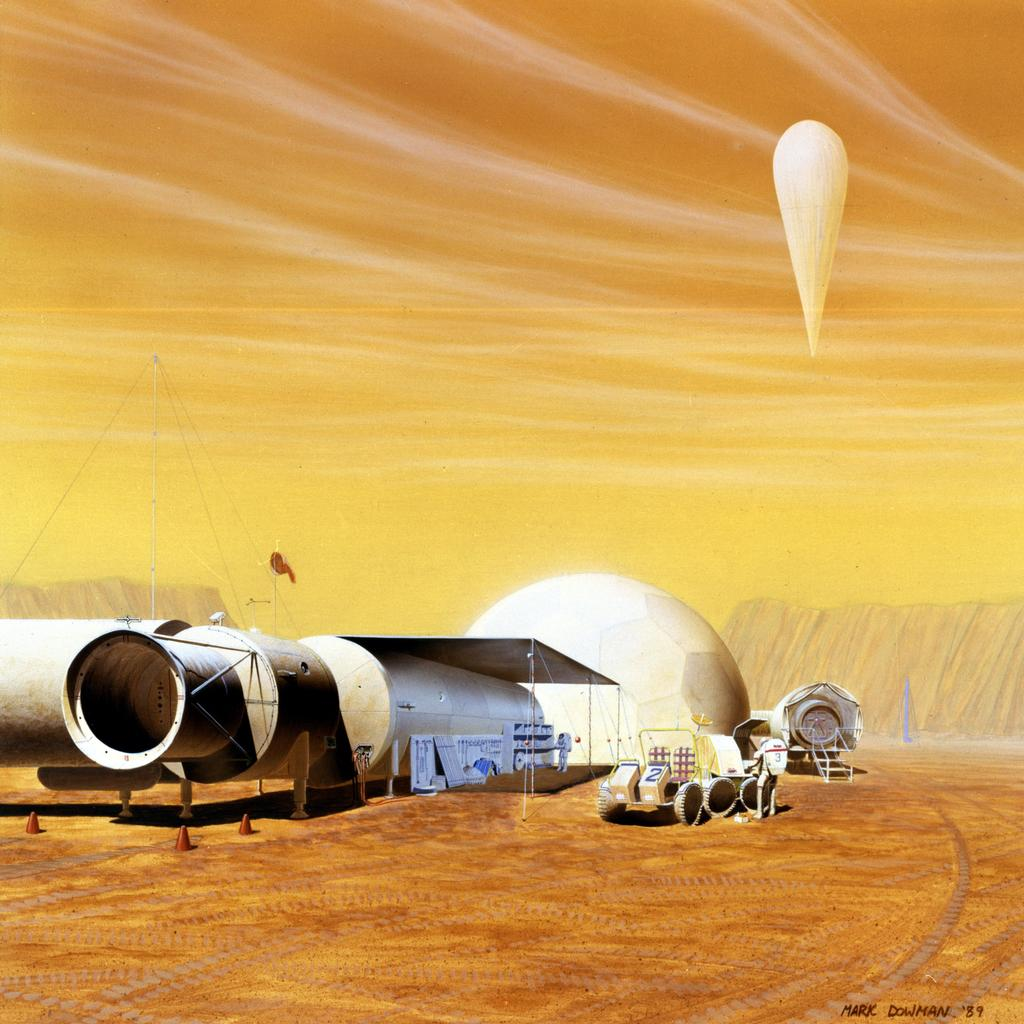In this artist's concept, an outpost for astronauts living and working on Mars is imagined.