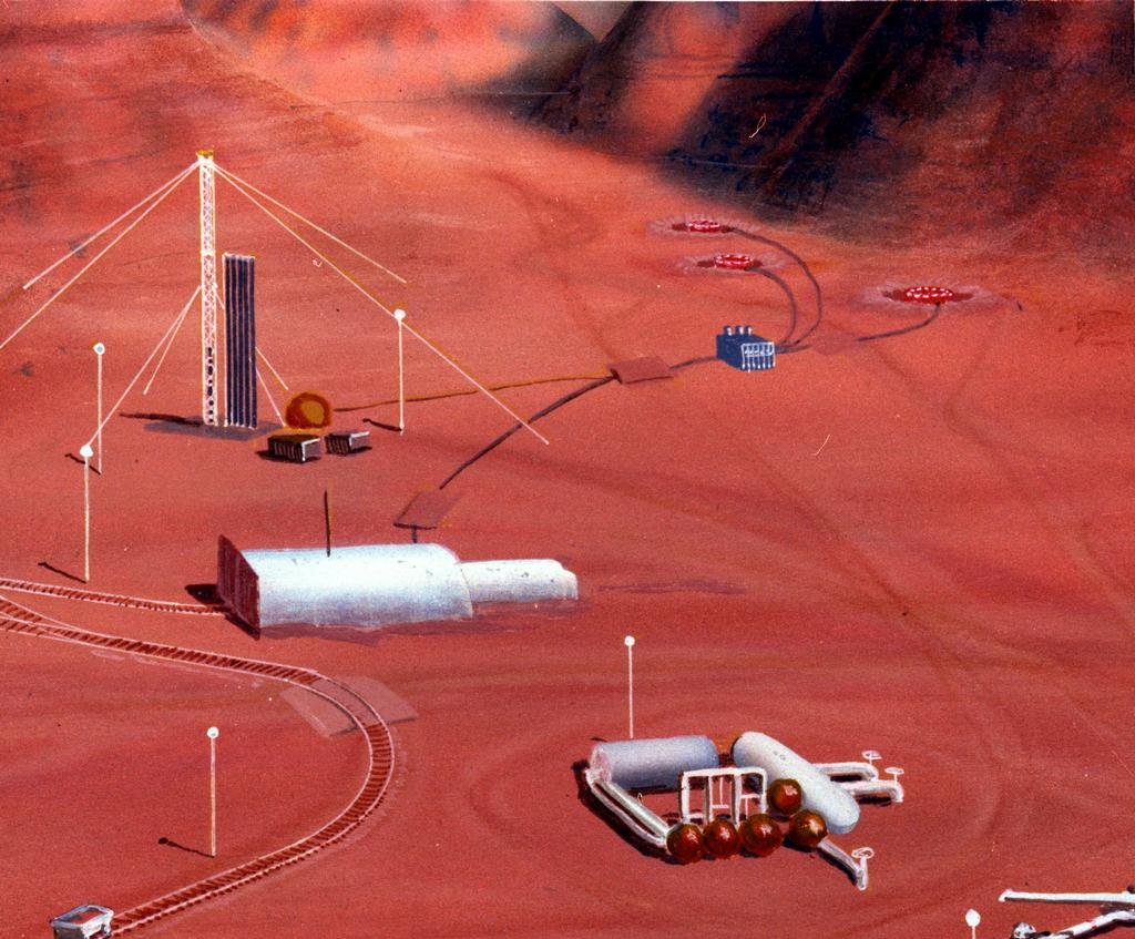 In this artist's concept, a human habitat on Mars with a greenhouse and many facilities needed for survival.