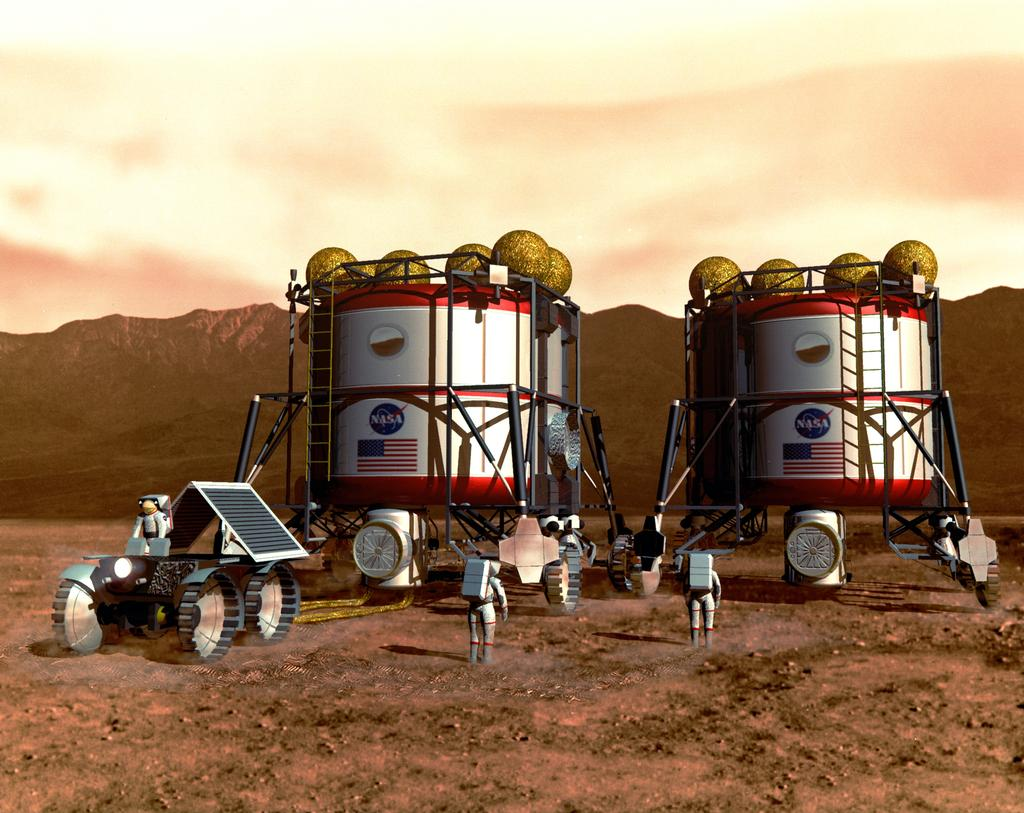 In this artist's concept, astronauts work on their habitat by using available resources on Mars.