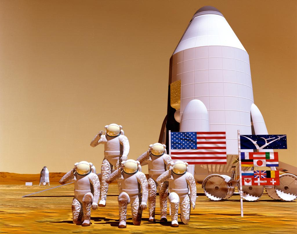 In this artist's concept, a full crew of astronauts on Mars salutes in a tribute to humans on Earth.