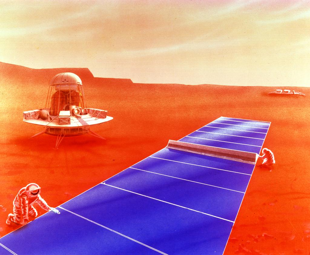 Solar panels stretch out in a large blue line on the reddish Martian surface as astronauts work on it.