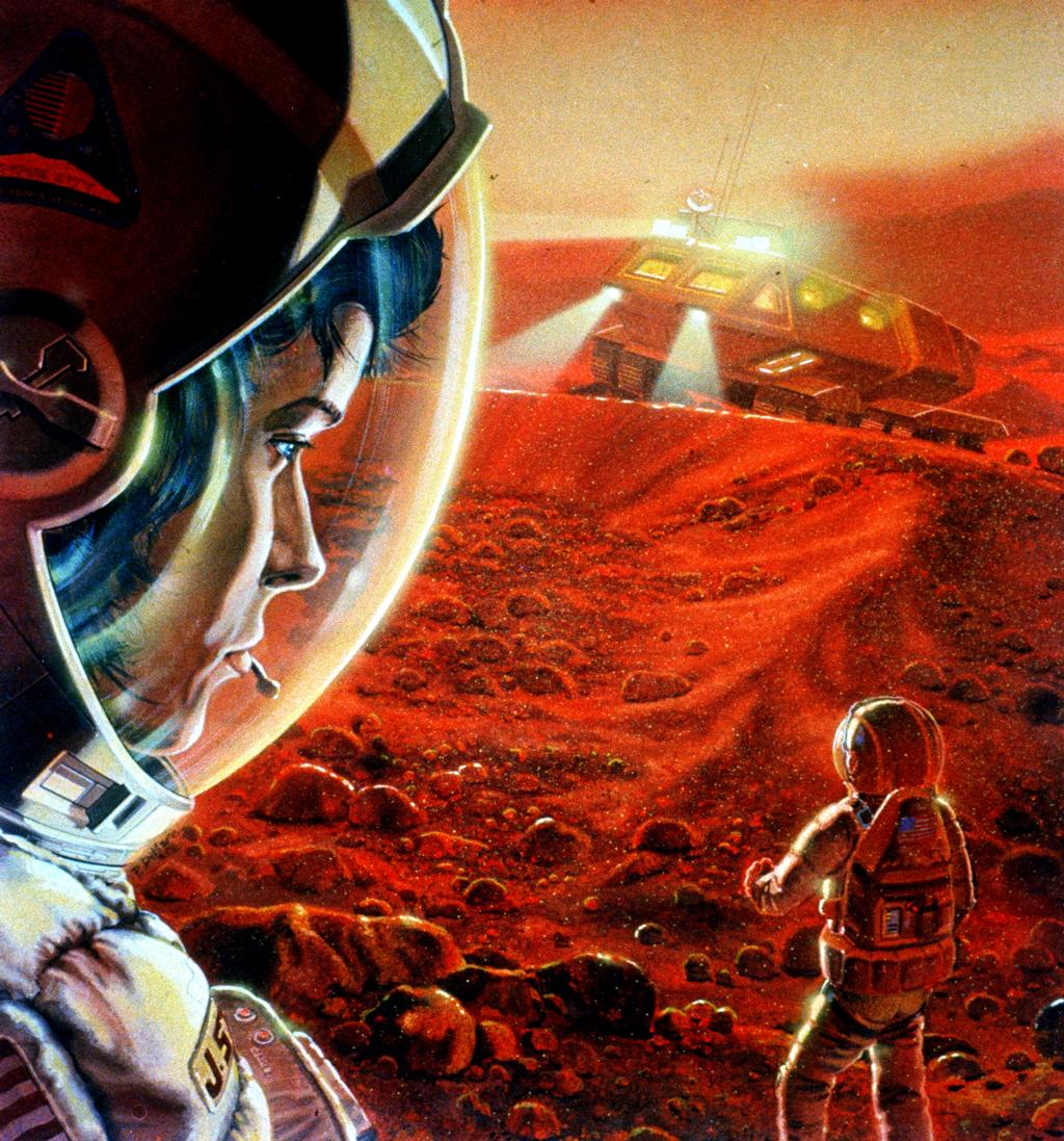 In this artist's concept, an astronaut in the foreground looks back at a fellow astronaut. Behind them both is a vehicle with its headlights beaming.
