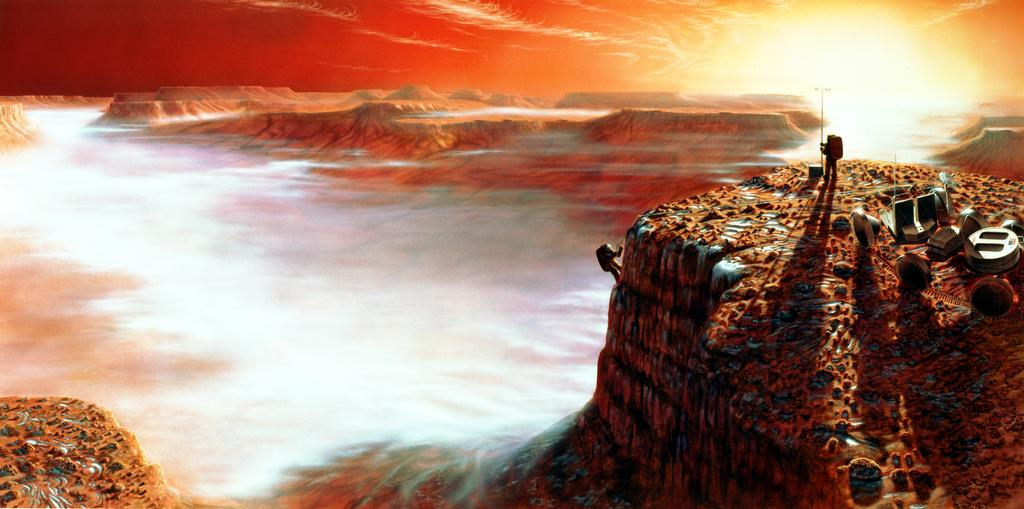 This artist's concept depicts a possible scene when the first human travelers might walk on the surface of Mars.