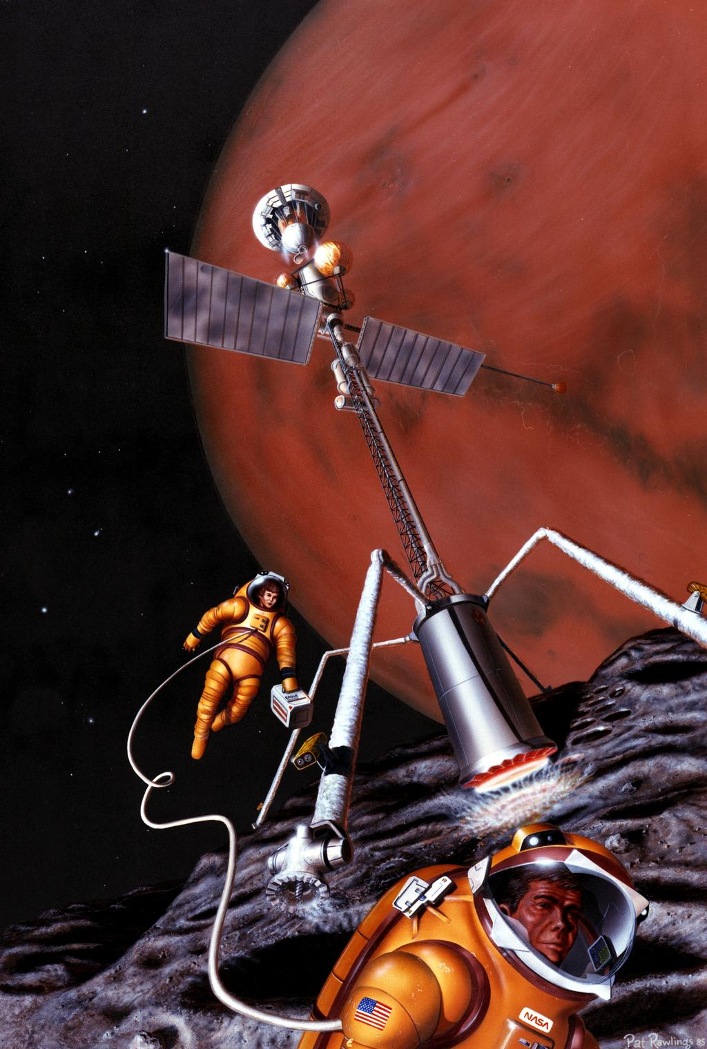 In this artist's concept, astronauts get resources for their survival on Mars' moon Phobos.