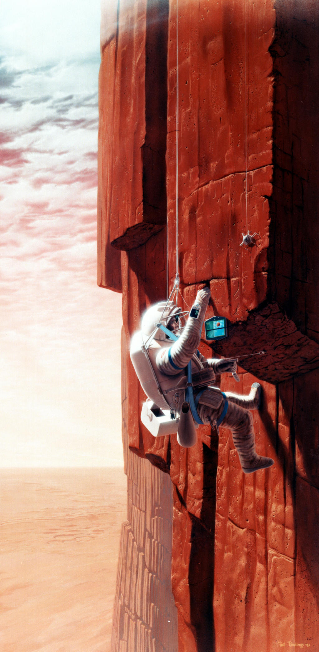 In this artist's concept, an astronaut collects Mars rock samples on the largest shield volcano in the solar system.