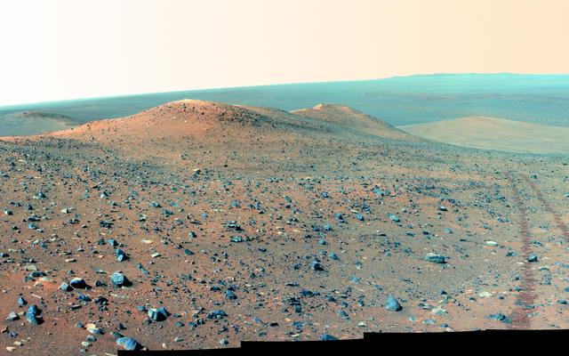 This north-looking vista from NASA's Mars Rover Opportunity shows Wdowiak Ridge, from left foreground to center. This version is presented in false color, which enhances visibility of the rover's wheel tracks at right.