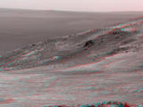 "This stereo scene from NASA's Opportunity Mars rover shows part of ""Marathon Valley"" as seen from an overlook north of the valley on March 13, 2015. The image combines views from the left eye and right eye of Opportunity's Pancam to appear three-dimensional when seen through blue-red glasses"