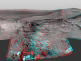 "Cumulative driving by NASA's Opportunity Mars rover surpassed marathon distance on March 24, 2015, as the rover neared a destination called ""Marathon Valley,"" which is middle ground of this stereo view from early March. The scene appears three-dimensional when viewed through blue-red glasses."