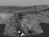 "Cumulative driving by NASA's Mars Exploration Rover Opportunity surpassed marathon distance on March 24, 2015, as the rover neared a destination called ""Marathon Valley,"" which is middle ground of this dramatic view from early March."