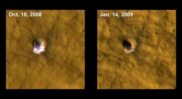 NASA spacecraft sees ice on Mars exposed by meteor impacts.