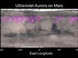 A map of MAVEN's IUVS's auroral detections in December 2014 overlaid on Mars' surface.