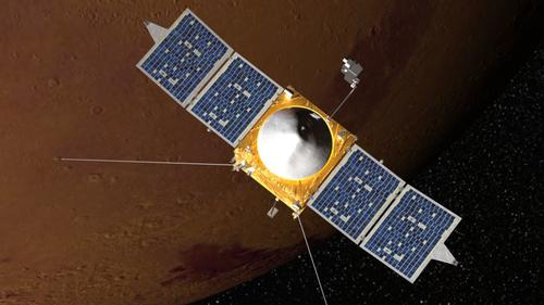 Artist's conception of MAVEN Mars orbiter.