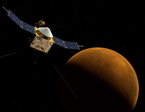 This artist's concept depicts NASA's Mars Atmosphere and Volatile EvolutioN (MAVEN) spacecraft near Mars.