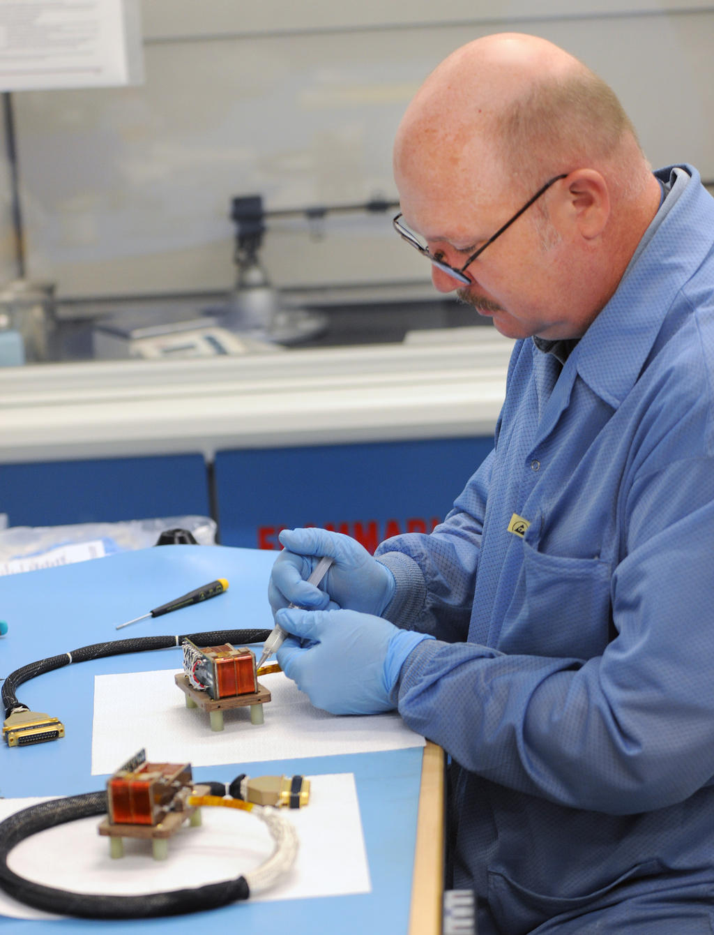Jim Odom, a technician from Goddard's magnetometer group, works on the MAVEN magnetometers.