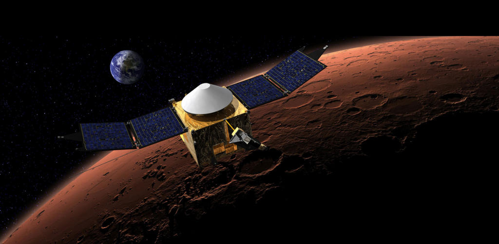 This artist's concept shows the MAVEN spacecraft in orbit around the Red Planet, with a fanciful image of her home planet in the background.