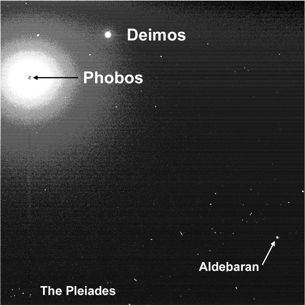 This image shows a large white circle representing an enhanced image of the light from Phobos with an oblong rock-like object representing Phobos itself inserted in the middle. A little above and to the right of that is a smaller white circle representing Deimos. In the lower left corner are several white pinpoints labeled 'The Pleiades.'
