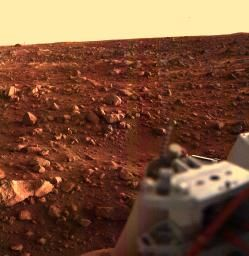 This color image of the Martian surface in the Chryse area was taken by Viking Lander 1, looking southwest, about 15 minutes before sunset on the evening of August 21.