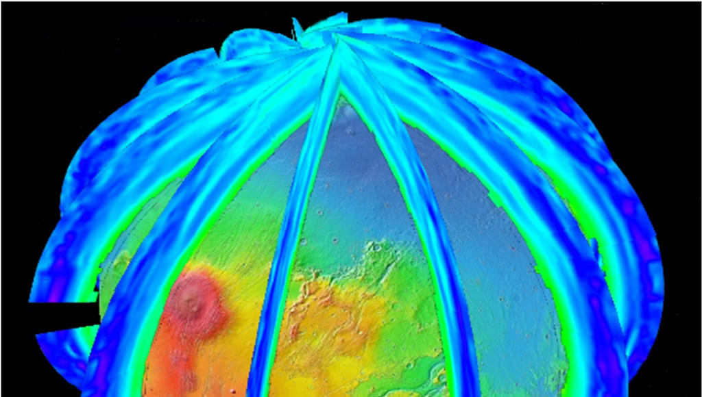 The Mars Climate Sounder instrument on NASA's Mars Reconnaissance Orbiter maps the vertical distribution of temperatures, dust, water vapor and ice clouds in the Martian atmosphere as the orbiter flies a near-polar orbit.