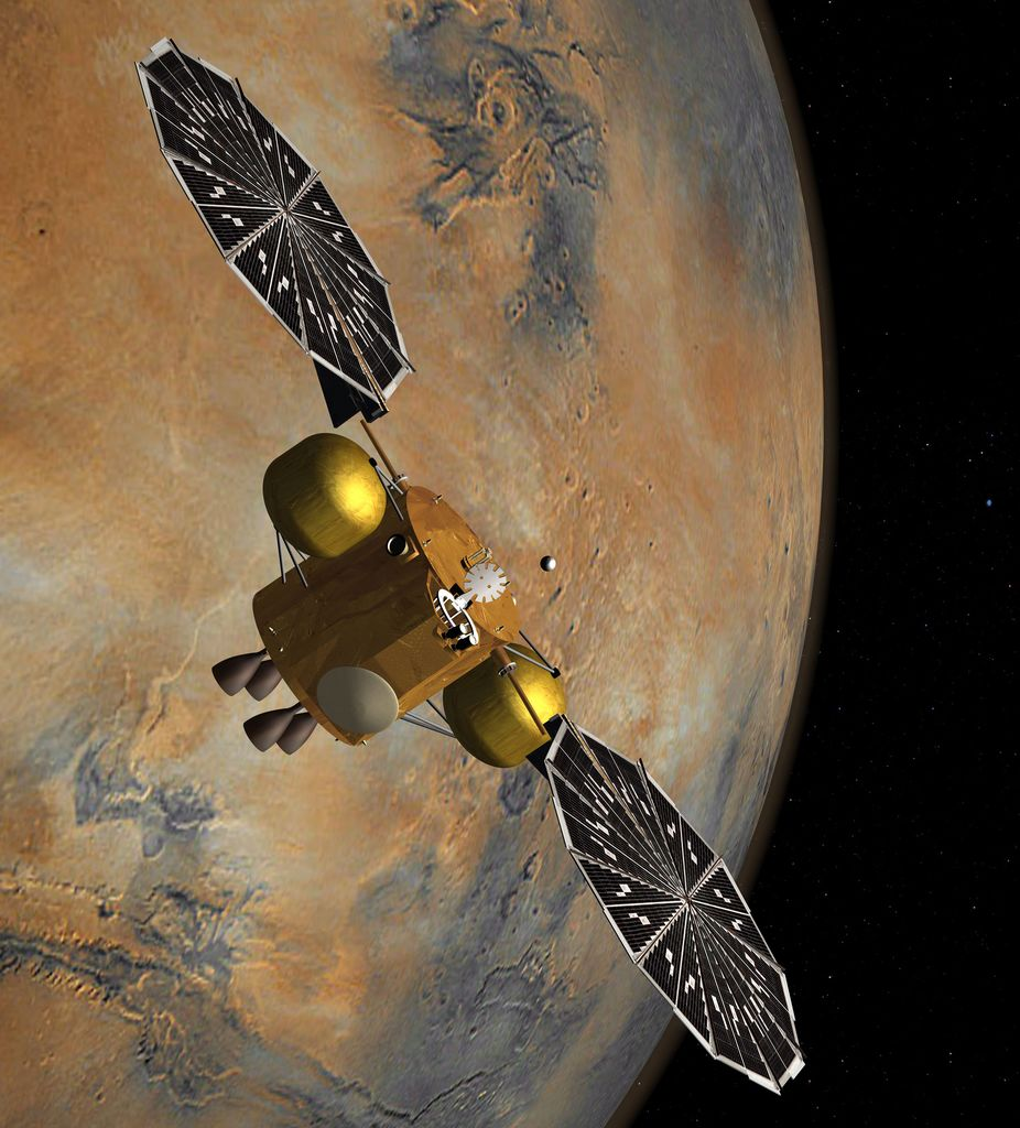 This artist's concept of a proposed Mars sample return mission portrays the capture of a collection of Martian samples by a spacecraft orbiting Mars.