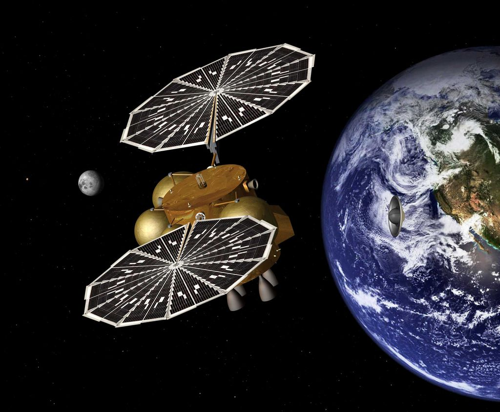 This artist's concept of a proposed Mars sample return mission portrays the separation of an Earth entry vehicle, bearing a container of Martian rock samples, from the main spacecraft that would have carried it from Martian orbit nearly to Earth.