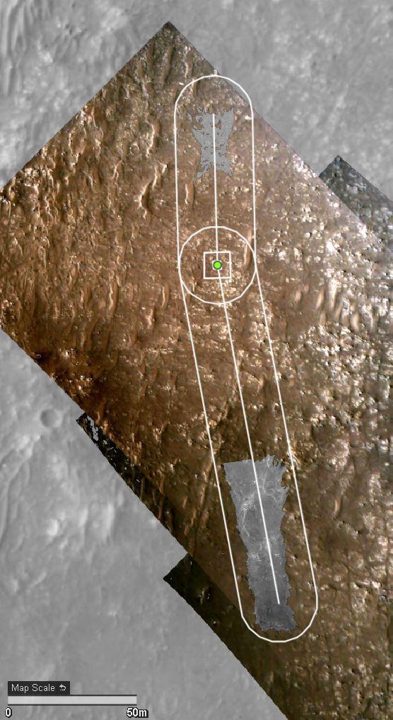 Der vierte Flugweg des Ingenuity Mars Helicopter der NASA wird hier auf dem Gelände überlagert, das von der HiRISE-Kamera an Bord des Mars Reconnaissance Orbiter der Agentur abgebildet wird.