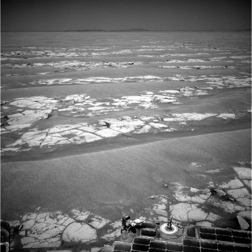 NASA's Mars Exploration Rover Opportunity used its navigation camera to record this view at the end of a 111-meter (364-foot) drive on the 2,353rd Martian day, or sol, of the rover's mission on Mars (Sept. 6, 2010).