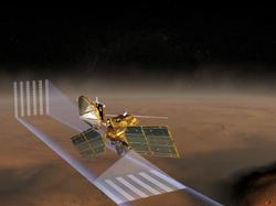 This artist's concept of NASA's Mars Reconnaissance Orbiter at Mars features one of its instruments -- the Mars Climate Sounder -- in action.