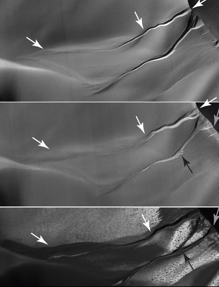 The gullies on a Martian sand dune in this trio of images from NASA's Mars Reconnaissance Orbiter deceptively resemble features on Earth that are carved by streams of water.