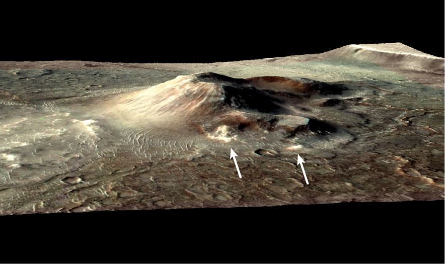 This volcanic cone in the Nili Patera caldera on Mars has hydrothermal mineral deposits on the southern flanks and nearby terrains.