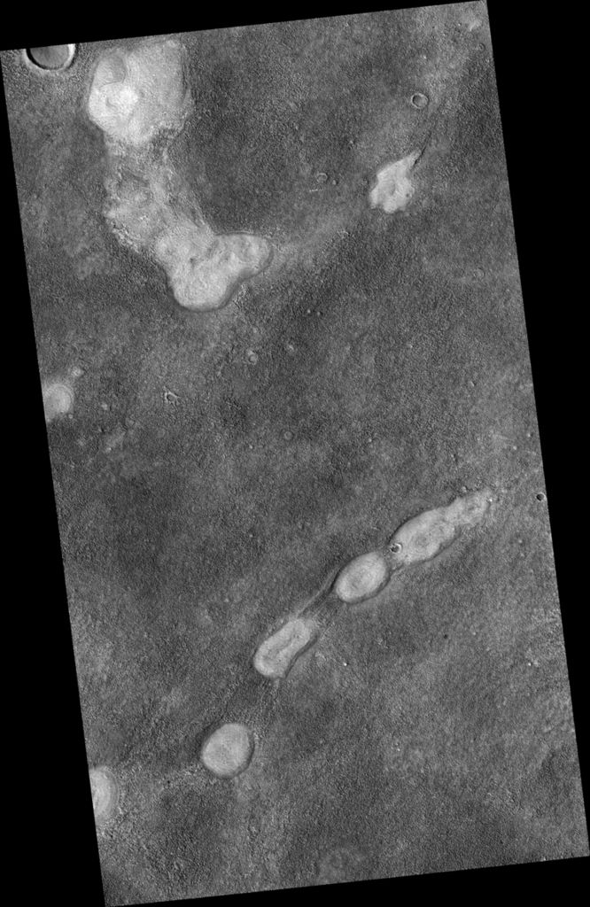 This proposed future Mars landing site in Acidalia Planitia targets densely occurring mounds thought to be mud volcanoes.