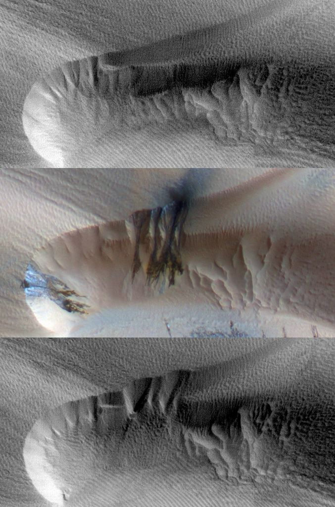 Three images of the same location taken at different times on Mars show seasonal activity causing sand avalanches and ripple changes on a Martian dune.