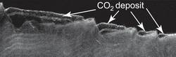 Cross Section of Buried Carbon-Dioxide Ice on Mars