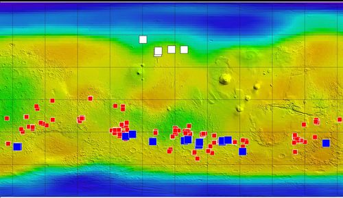 This map of Mars shows relative locations of three types of findings related to salt or frozen water, plus a new type of finding that may be related to both salt and water.