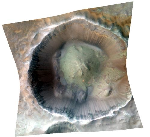 Impact cratering and erosion combine to reveal the composition of the Martian underground by exposing materials from the subsurface.