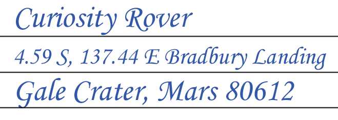 Curiosity's postcard location at Bradbury Landing