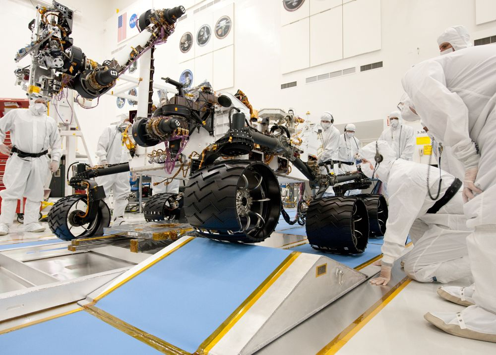 NASA's next Mars rover, Curiosity, drives up a ramp during a test at NASA's Jet Propulsion Laboratory, Pasadena, Calif., on Sept. 10, 2010.