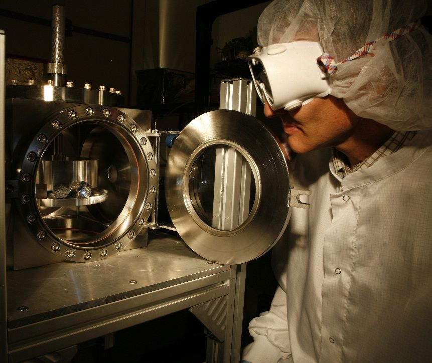 The ChemCam instrument for NASA's Mars Science Laboratory mission uses a pulsed laser beam to vaporize a pinhead-size target, producing a flash of light from the ionized material -- plasma -- that can be analyzed to identify chemical elements in the target.