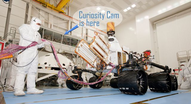 The Curiosity Cam live video feed allows the public to watch technicians assemble and test NASA's next Mars rover in a clean room at the Jet Propulsion Laboratory, Pasadena, Calif.